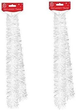 2 hilos de espumillón de Navidad de lujo de 2 m, mezcla gruesa y fina, color blanco con tinte
