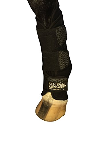 Benefab Therapeutic Smart QuickWrap for Front Legs - 1 Pair/2PCS Wraps w/ Infused Ceramic Powder & Magnetic Therapy - Prevent Injuries, Promote Blood Circulation, Reduce Pain & Stiffness, Black by Benefab