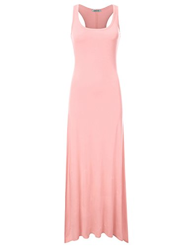 NINEXIS Women's Sleeveless Scoop Neck Racerback Tank Maxi Dress LIGHTPINK S