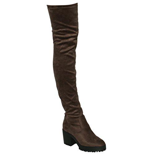 Besonon EJ05 Frauen Stretchy Snug Fit Plattform Oberschenkel Hohe Chunky Heel Stiefel Taupe Wildleder