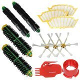 I-clean Brush Cleaning Tools & 2 Bristle Brushes & 2 Flexible Beater Brushes & 3 Side Brushes 6-Armed & 3 Filters Pack Mega Kit for iRobot Roomba 500 Series Roomba 510, 530, 535, 540, 560, 570, 580, 610 Vacuum Cleaning Robots all Green, Red, Black cleaning head (Irobot Roomba 500 Aerovac compare prices)