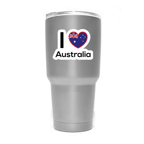 (Love Australia Flag Decal Sticker Home Pride Travel Car Truck Van Bumper Window Laptop Cup Wall - Two 3 Inch Decals - MKS0195)