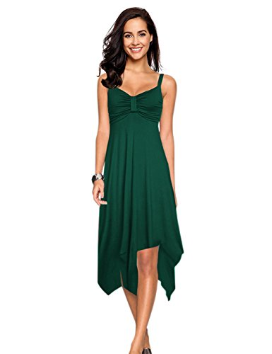 Leadingstar Women's Strap Irregular Hem Club Date Party Dress (Dark Green, -