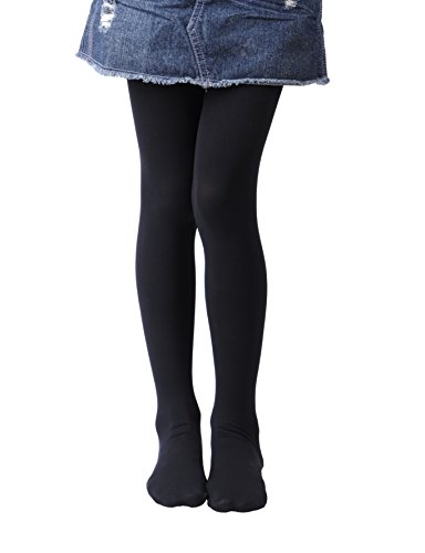 Girls Tights, Semi Opaque Footed Tights, Microfiber Comfortable Tights, Dance Tights (8-10, Black)