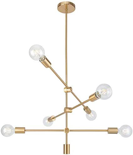 Ganeed Sputnik Chandeliers Modern 6 Lights Brushed Brass Chandelier Mid Century Pendant Lighting Gold Ceiling Light Fixture for Hallway Bar Kitchen Dining Room