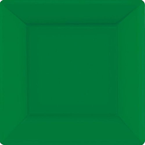 Amscan Square Paper Plates Party Supplies, 10'', Green