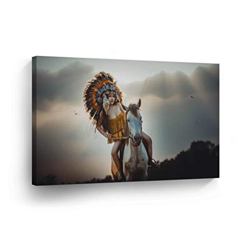 Handmade Native American Indian Horse - SmileArtDesign Indian Wall Art Native American Girl Riding a White Horse Canvas Print Home Decor Decorative Artwork Gallery Wrapped Wood Stretched and Ready to Hang -%100 Handmade in The USA - 8x12