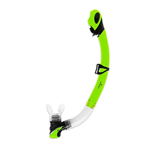 Own the Wave Snorkel Tube - Dry Top and Purge Valve Snorkeling Tube for Comfortable Breathing - Dive Tube for Swimming, Diving, Snorkeling (Yellow Green)