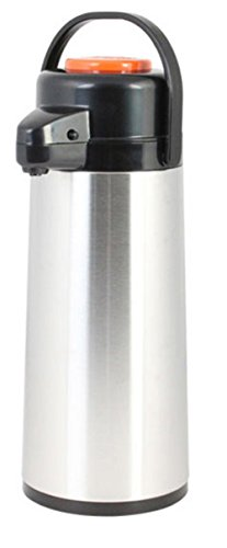 (Thunder Group ASPG022D, 2.2 Liters/ 74 Ounces Glass Lined Airpot, Hot Coffee Dispenser, Stainless Steel Decaf Push Button Vacuum Server)
