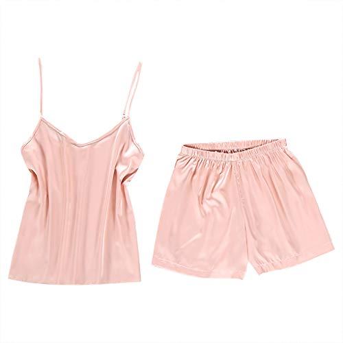 (Womens Sexy Lingerie Satin Camisole Tank & Short Pajama Sets Sleeveless Solid Sling Cami Shorts Set Nightwear Pink)