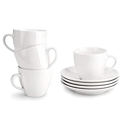 MIWARE 8 Ounce Porcelain Cappuccino Cups with Saucers - Set of 4, Perfect for Specialty Coffee Drinks, Latte, Cafe Mocha and Tea, White