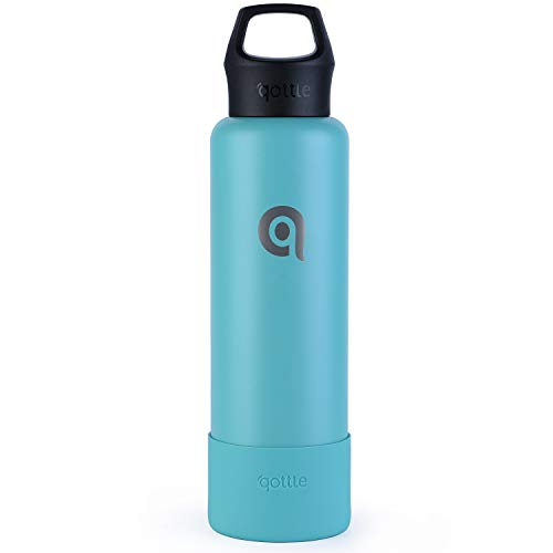 (qottle 24 oz Insulated Water Bottle - Double Wall Vacuum Metal Stainless Steel Water Bottle with BPA Free Upgraded Cap, Large Travel Flask for Hot Coffee or Cold Tea with Sleeve Boot, Aqua Blue)