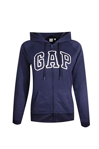 GAP Womens Fleece Arch Logo Full Zip Hoodie (Navy Blue, Medium) from GAP