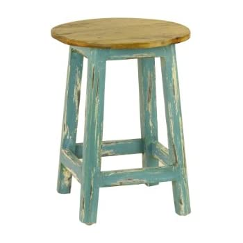Amazon Com Antique Revival Avignon Round Stool Blue