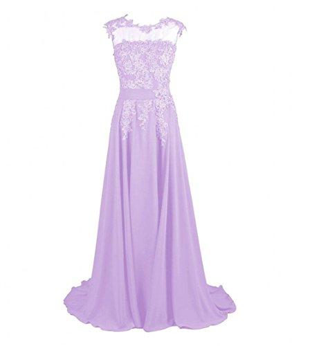 Evening Dresses Appliques Lavender AK Chiffon Beauty Women's Prom Long ngwWFXqT
