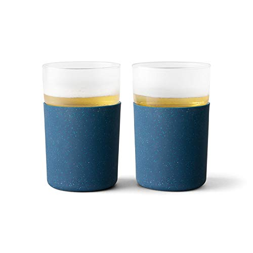 Rabbit R5-21308 Freezable Beer Glasses, Set of 2, Speckled Navy