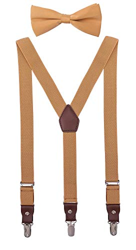 ORSKY Little Boys' Bow Tie and Suspenders Adjustable Elastic 30 Inches Ginger Yellow (Ginger Tie)