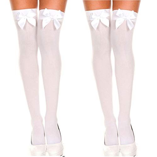 Women's Long Socks Cute Satin Bows Onver knee Thigh-High Stockings 2 Pcs Set (White White) comfy cute graduated lady Open toe pajama legs walking -