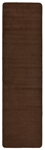 Comfy Solid Color Runner Area Rug 26 Inch Wide x Your Choice Length In 3 Color Options Slip Skid Resistant Rubber Back (Brown, 2'2