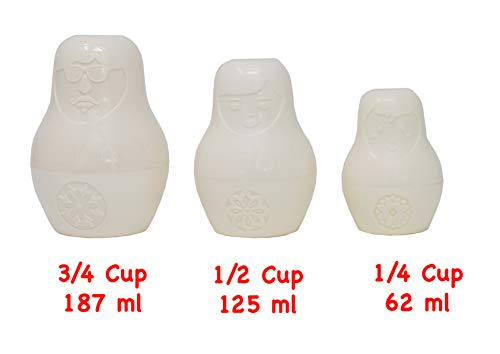 Home-X - Russian Nesting Doll Measuring Cup Set (6 Pieces), Ceramic Design Stores and Measures Dry and Wet Ingredients Alike, Beautiful Kitchen Decor Inspired by Classic Matryoshka Dolls