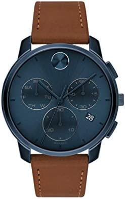 Movado Men's Stainless Steel Swiss Quartz Watch with Leather Strap, Cognac, 21 (Model: 3600630)