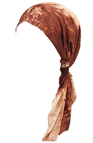 Brown Headwear - Chemo Cancer Head Scarf Hat Cap Ethnic Printed Pre-Tied Hair Cover Wrap Turban Headwear (Brown Tie Dyed)