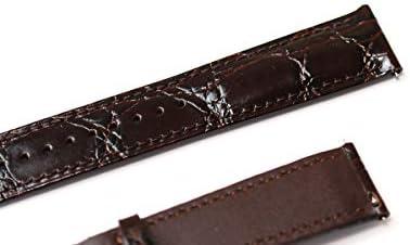 腕時計 Dバックル 用 ベルト 22mm クロコダイル型押し 牛 革 ダークブラウン クリッカー 仕様 lc1-t0-db