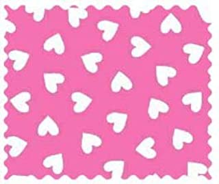 product image for SheetWorld 100% Cotton Percale Fabric by The Yard, Primary Hearts White On Pink Woven, 36 x 44
