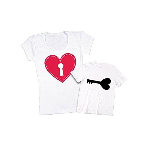 Lucchetto Mamma Altra per di Bianco e la Chiave Shirt Coppia per e Marca T Personalizzate Magliette Madre Figlio Festa della ZZwqUPfx