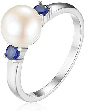 JewelryPalace 8mm Freshwater Cultured Pearl Created Sapphire Ring 925 Sterling Silver