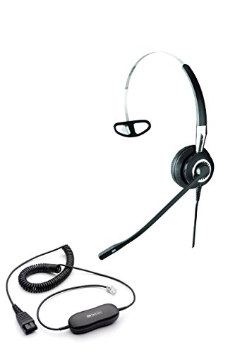 Jabra BIZ 2420 Direct Connect VoIP Ultra Noise Canceling Premium Headset Bundle (Headset and Telephone Interface cable) | VoiP, IP, Digital and Analog phones with RJ-9 Headset Jack by Global Teck