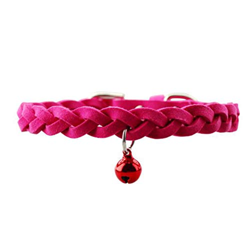 UINKE Dog Collar Braided Plush Double Side Soft Adjustable Buckle Pin with Bells Pet Cat Training Walking Neck Collar,Rose Red ()