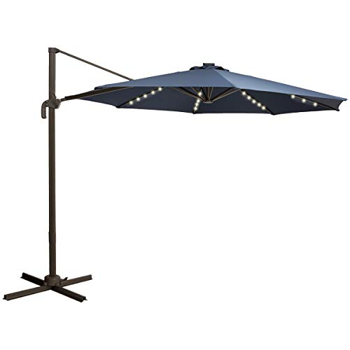 TAGI 10 feet Square Outdoor Umbrella with 40 Solar LED Lights, Cantilever Pole with Crank Lift, 8 Iron Ribs, rotatable, Navy Blue (10 With Patio Ft Umbrella Lights)