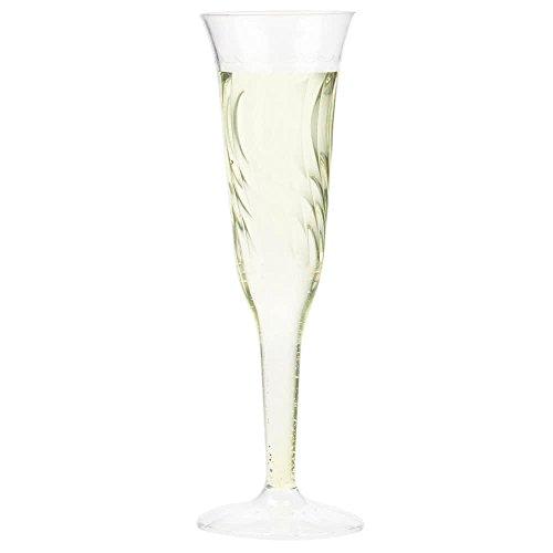 24 Count 5 oz Disposable 1-piece Champagne Flute, Flairware 2106 w/ Signature Party Picks