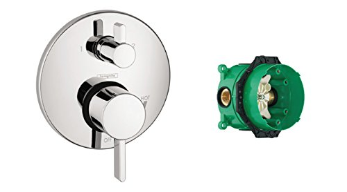 Hansgrohe 04447000, Pressure Balance Trim With Diverter And iBox Universal Plus Rough In Valve with Service Stop,Chrome ()