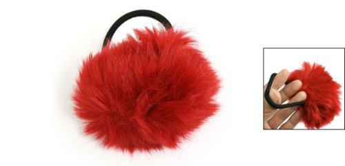 Dark Red Pom Pom Decor Black Stretchy Band Hair Tie ...