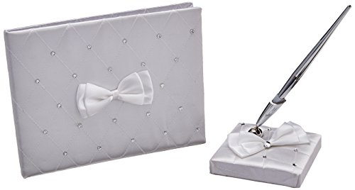 Amscan Traditional Wedding Party Keepsakes Satin Guest Book With Electroplated Pen and Base Set, White, Paper,