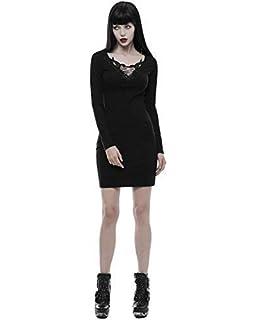 e7aa2e3c1309 punk rave gothique mini robe noir steampunk lacets SACRÉ COEUR MANCHES  LONGUES LBD