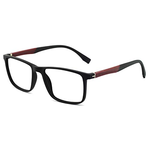 Men Women Non Prescription Eyeglasses Fashion TR90 Frame with Clear Lense Eyewear Lightweight (Black+Wine ()