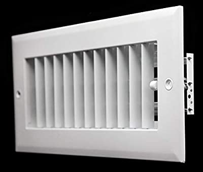 "14""w X 6""h ADJUSTABLE AIR SUPPLY DIFFUSER - HVAC Vent Cover Sidewall or Ceiling - Grille Register - High Airflow - White [Outer Dimensions: 15.75""w X 7.75""h]"