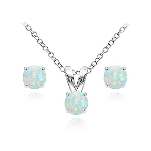 Sterling Silver Simulated White Opal 5mm Round Solitaire Pendant Necklace and Stud Earrings Set for Girls