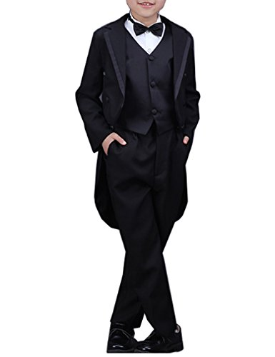 YUFAN Boys Black/White 5 Pieces Tuxedo Suits with Tail Tailcoat Vest Pants Shirt Bow Tie (Black, 10) -
