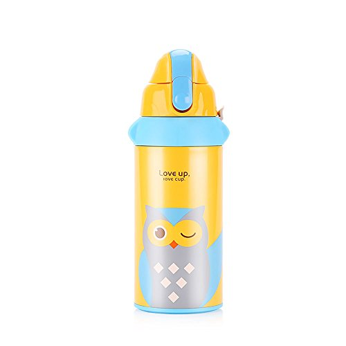 UPSTYLE Vacuum Cup Multifunction Children Stainless Steel Water Bottle with Straw Lovely Pattern Kids Thermoses, 19.6OZ, SC022 (Yellow Owl)