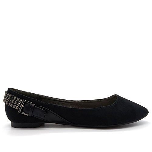 London Footwear Lilya, Women's Ballet Flats Black