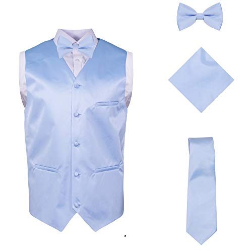 Combo Suit - Vittorino Mens 4 Piece Formal Vest Set Combo with Tuxedo Vest Tie Bow Tie and Handkerchief, Light Blue, XXX-Large (3X)
