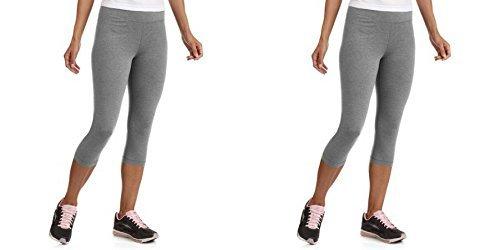 (2 Pieces Danskin Now Women's Dri-More Capri Core Leggings (S, Med Heather Grey))