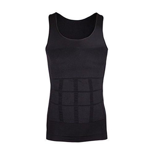 Men's Compression Shirt - Tummy Slimming Body Shapers- Abdomen/Waist/Belly Fat Compressions Vest- Elastic Shapewear for Men- Fit Body Tank for Weight Loss, Yoga, Running, Workout - Black, XL