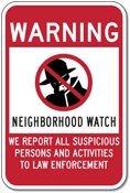 Neighborhood Watch Warning Sign - 12x18