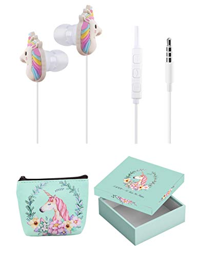 Kids Headphones for Girls - TMHH Cute Unicorn Earbuds for Kids Teens with Earphone Case, Microphone, Volume Limiting for School Home Travel (Green)