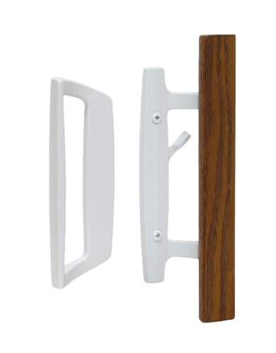 "Bali Nai Sliding Glass Door Handle and Mortise Lock Set with Oak Wood Pull in White Finish, Standard 3-15/16"" CTC Screw Holes, 1-1/2"" Door Thickness"